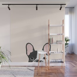 French Bulldog peeking cute black and white frenchie must have dog mom pet lover gifts Wall Mural