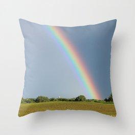 Rainbow over Farm Field Throw Pillow