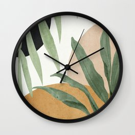 Abstract Art Tropical Leaves 4 Wall Clock
