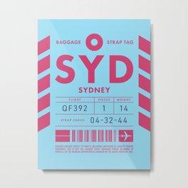 Baggage Tag D - SYD Sydney Australia Metal Print