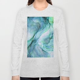 Aqua Turquoise Teal Abstract Ink Painting Long Sleeve T-shirt