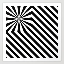 Stripes explosion - Black Art Print