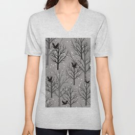 Winter Tree birds and snowflakes - Christmas design Unisex V-Neck