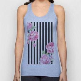 Black white blush pink watercolor floral stripes Unisex Tank Top