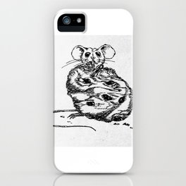 """""""Sweet tooth"""" Mouse with cookie sketch iPhone Case"""