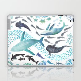 Sharks, Humpback Whales, Orcas & Turtles Ocean Play Print Laptop & iPad Skin