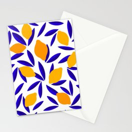 Blue and yellow Lemon Summery Pattern Stationery Cards