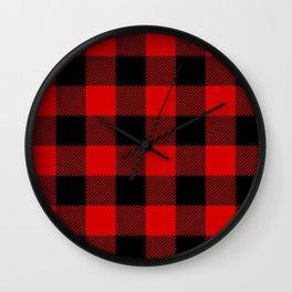 Red Lumberjack Pattern Wall Clock