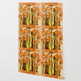 Orange California poppies, mid century, 70s retro, flowers Wallpaper