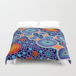 Authentic Aboriginal Art - The Journey Blue Duvet Cover