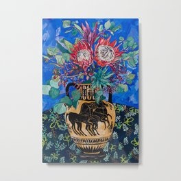 Painterly Bouquet of Proteas in Greek Horse Urn on Blue Metal Print