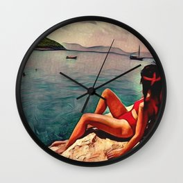 Laying on a rock (style 1) Wall Clock