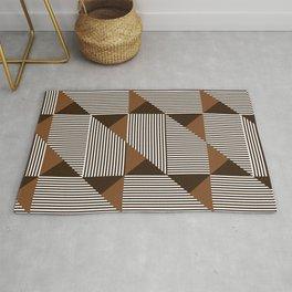 Coffee Brown Geometric Shapes Rug