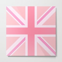 Pink Union Jack/Flag Design Metal Print