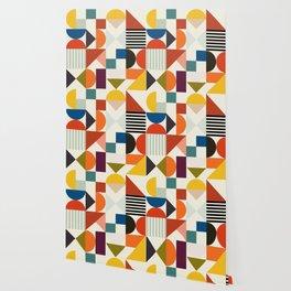 mid century retro shapes geometric Wallpaper