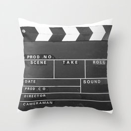 Film Movie Video production Clapper board Throw Pillow