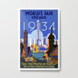World's Fair Chicago 1934 - Vintage Poster Metal Print