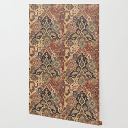 Geometric Leaves I // 18th Century Distressed Red Blue Green Colorful Ornate Accent Rug Pattern Wallpaper