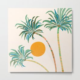 Summer Sunset Palms Metal Print