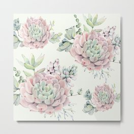 Pink Echeveria Light Green #society6 #buyart Metal Print
