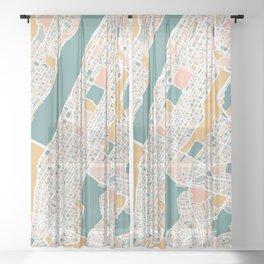 Manhattan New York Map Art Sheer Curtain