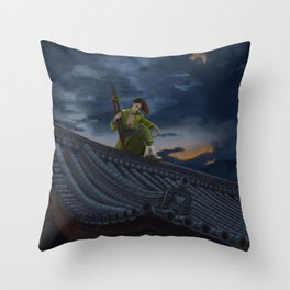 A Scouting Killer Bee Stalks Their Prey Throw Pillow