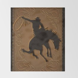 Leather Rodeo Cowboy Throw Blanket