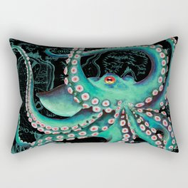 Teal Octopus Watercolor Vintage Map Dance Rectangular Pillow