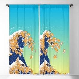 Shiba Inu in Great Wave Blackout Curtain