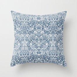 William Morris Navy Strawberry Thief Pattern Throw Pillow