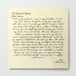 Alexander Hamilton Letter to John Laurens Metal Print