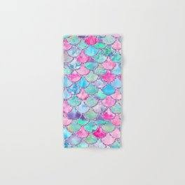 Colorful Pink and Blue Watercolor Trendy Glitter Mermaid Scales  Hand & Bath Towel