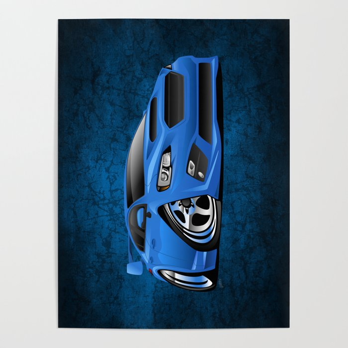 Import Sports Sedan Cartoon Illustration Poster