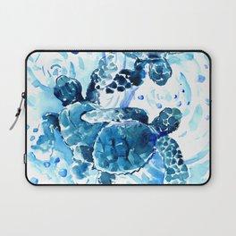Three Sea Turtles, blue bathroom turtle artwork, Underwater Laptop Sleeve