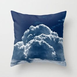 Puffy Cumulus clouds on Deep Blue Sky Throw Pillow