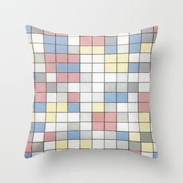 Composition with Grid IX by Piet Mondrian 1919 // Red Blue Yellow Gray Cube Abstract Square Pattern Throw Pillow