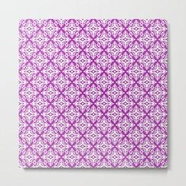 Damask (White & Purple Pattern) Metal Print