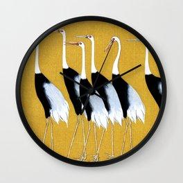Flock of Japanese red crown crane by Ogata Korin Wall Clock