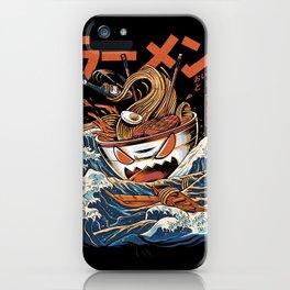 The black Great Ramen iPhone Case