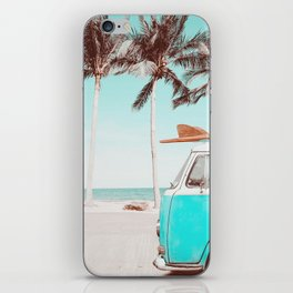 Retro Camper Van With Surf Board iPhone Skin