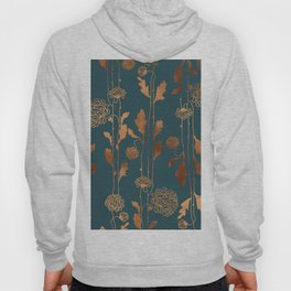 Art Deco Copper Flowers  Hoodie