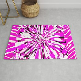 Zebras and Dahlias Pink and White Abstract Rug