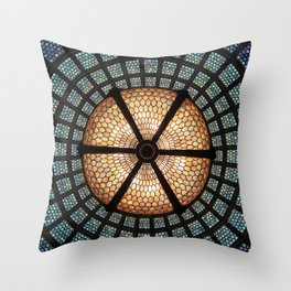 Chicago Train Stained Glass Throw Pillow