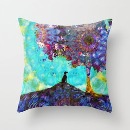 Tree Of Life Artwork - Dog Is Life - Sharon Cummings Throw Pillow