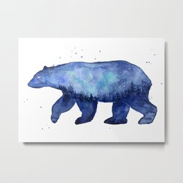 Blue Galaxy Forest Bear Silhouette Metal Print