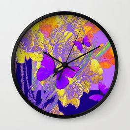 VIOLET BUTTERFLIES LILAC PURPLE YELLOW FLORALS Wall Clock