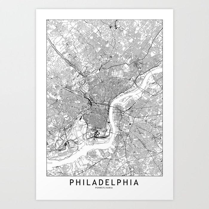 Philadelphia White Map Kunstdrucke