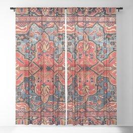 Kashan Poshti Central Persian Rug Print Sheer Curtain