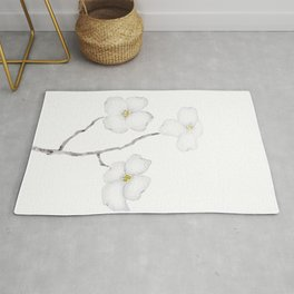 white dogwood flower watercolor Rug