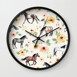 Horses and Flowers, Sunrise Floral, Cream, Horse Print, Horse Illustration, Pink and Yellow, Equestrian, Little Girls Wall Clock